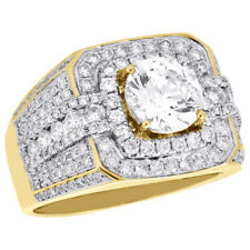 10K Yellow Gold Men's Round Diamond Pinky Ring Solitaire Semi Mount Band 1.82 CT