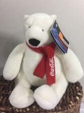 "Coca Cola Polar Bear Red White Scarf Black Nose Nwt Plush 7"" Toy Lovey 2007"
