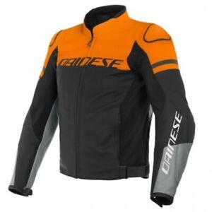 Giacca pelle moto Dainese Agile nero arancio grigo tg 56 black orange gray