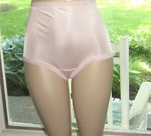 Vintage Pink Fruit Of The Loom Nylon Satin Full Brief Panty size 8