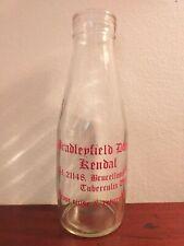 More details for collectable vintage pint glass milk bottle - bradleyfield dairy kendal