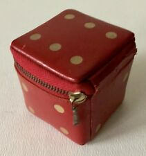 Vintage Austria Genuine Leather Red Soft Sided Gambling Dice Shaped Zipper Box