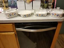 8- piece Vintage 1975 Corning Ware Country Festival Blue Birds  Casserole W/Lids