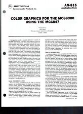 Original Motorola Application Note 815 Color Graphics For Mc68000 Using Mc6847
