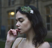 Peacock Feather Headpiece Vintage Headband Fascinator Silver 20s Olive Green T76