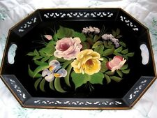 Antique Hand Painted Black Tole Tray -Cottage Pink Yellow Cabbage Roses, Iris