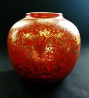 VTG 50s Chinese Deep Coral Ground And Gilt Vase 10cm Tall | FREE Delivery UK*