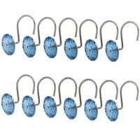 12 X Crystal Window Curtain Ring Hook Shower Curtain Hook Drape Hanger Blue