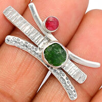 Chrome Diopside & Ruby 925 Sterling Silver Pendant XGB Jewelry BP29528 203G