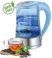 Glas Edelstahl Design Wasserkocher kettle 1,7 Liter kabellos 2000 Watt BLAU NEU