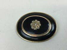 VICTORIAN SOLID 15CT GOLD ONYX AND SEED PEARL MOURNING BROOCH LOCKET C1890