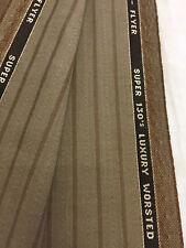 1.8 Metri Marrone Chiaro a Righe Super 130's Lana Abito Tessuto. da John Cooper