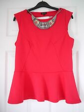 River Island Pink Chunky Necklace Peplum Top Size 14 BNWT £28