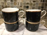 Mikasa China #L5025 BLACK GRANITE Coffee Cups Set of Four