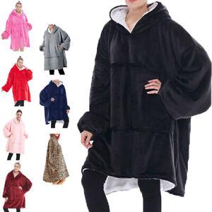 Unisex Men Women Sherpa Fleece Lined Blanket Hoodie Comfy Oversized Hooded Top