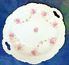 """Rose Garland China Cake Plate 10"""" Pink Gold Vintage Japan Victorian Hand Painted"""