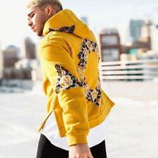 3D Floral Print Hooded Sweatshirt Casual Hoodie Coat For Men Yellow M