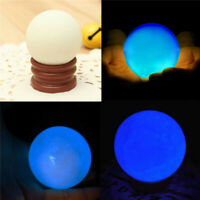 35*35MM Glow In The Dark Stone Blue Luminous Quartz Crystal Sphere Ball w/ Stand