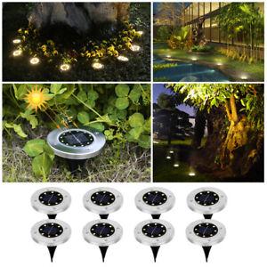 8LED Solarleuchte Bodenstrahler Außen IP65 Gartenleuchten Garten Solarlampen DE