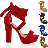 Womens Lace Up High Heel Sandals Block Platform Ankle Tie Ladies Party Shoes 3-8