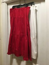 Boutique Europa 22 Red Tiered Cotton Skirt And White Slip New Ruffle