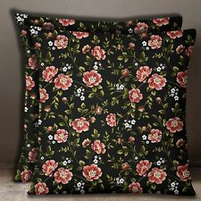 Black Square 2 Pcs Floral Print Home Decorative Cotton Poplin Cushion Cover