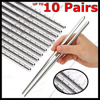 Stainless Steel Chopsticks Asian Japanese Korean Dinner Silver Metal Chop Sticks