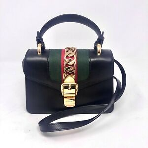 Authentic Gucci Sylvie Mini Black leather Crossbody Bag
