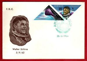 Jordan FDC # 435gh featuring Wally Schirra on European size envelope 3/25/1964