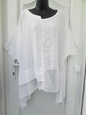 Italian Lagenlook  white 100% cotton big baggy tunic top kaftan 16 18 20 22