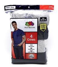 12 Black Gray 2XL 50-52 Inch Fruit Of The Loom Crew Neck T-Shirts 2EG 127-132 CM