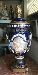 """Antique Sevres Style English Porcelain and Bronze Urn. 23""""."""