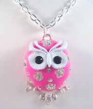 "New 28"" Necklace With Pink Owl Pendant Loaded With Rhinestones #N2050"