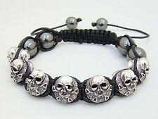 Shamballa macrame  SKULL HEMATITE Beaded Adjustable Bracelet