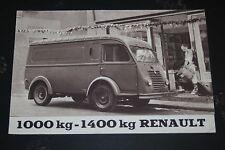 Ancien dépliant catalogue Renault - Camionnette 1000 kg 1400 kg Fourgon