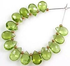 14 GENUINE GEMSTONE GREEN PERIDOT FACETED PEAR BRIOLETTE BEADS  6.5-7 mm  P2