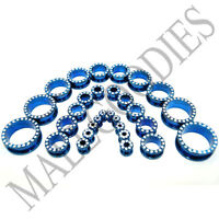V046 Screw-on fit Blue CZ Surgical Steel Flesh Tunnels Ear Plugs 10G~1""