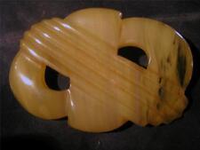 Fabulous Art Deco Large Carved Amber Bakelite Brooch, Tested