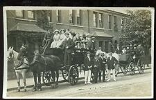 London West Ealing? vintage RP PPC Sunday trip? 2 horse carts + passengers