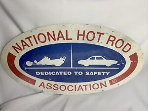"NHRA- Dedicated To Safety Tin Metal Sign- 2009- 24""x14"" inches Oval shape."