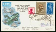 Mayfairstamps India 1969 Calcutta Pilot Signed Flight Anniversary Cover wwf48025