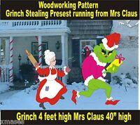 GRINCH STEALING PRESENT RUNNING FROM MRS CLAUS YARD ART PATTERN WOOD WORKING