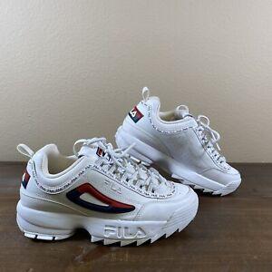 Fila Womens Disruptor II 5FM00002-125 White Sneakers Athletic Shoe Size 9 Clean