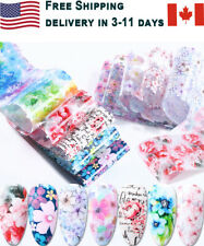 10 pcs Flower Nail Art Foil Sticker Transfer Decals Mixed Manicure at Home DIY