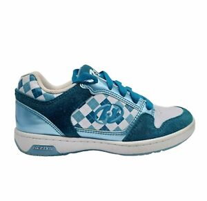 Heelys Unisex Kids Lace Up Check Low Top Round Toe Blue Sneaker Shoes Size M5 W6