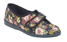 Sleepers Wilma Ladies Womens Cotton Velcro Floral Comfortable Slippers Navy Blue UK 7