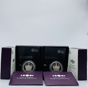 2015 RM The Longest Reigning Monarch Silver Piedfort & Silver Proof £5 Coin Set