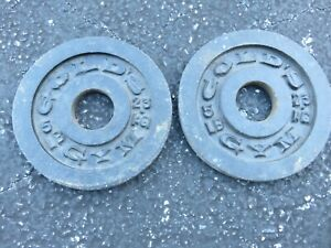 """2 Vintage Gold's Gym 5 lb Barbell Cast Iron Olympic Weight Plates 2"""" Hole LOOK"""