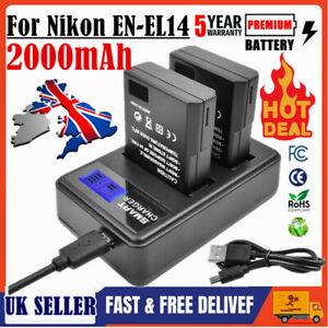 2X  2000mAh EN-EL14 Battery+DUAL Charger for Nikon D3300 D3400 D3500 D5100 D5200