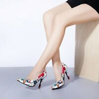 Women Pointy Toe Stilettos Floral Shoes Fashion High Heel Party Court Pumps Slip